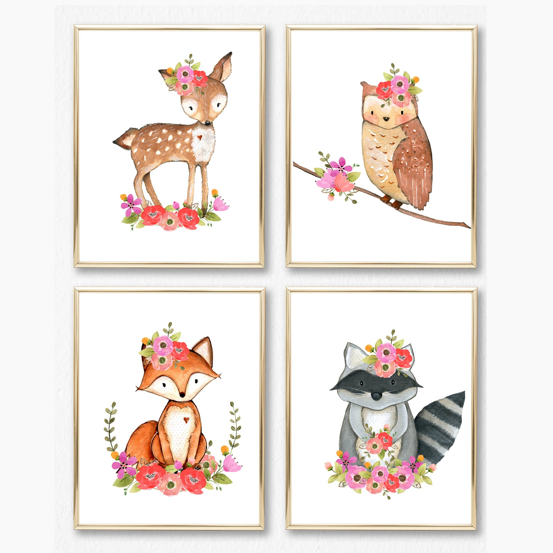 Girl Woodland Nursery Print Set. Girl Wall Art. Baby Girl.