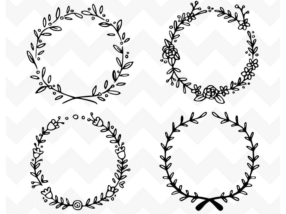heart leaves wreaths silhouette