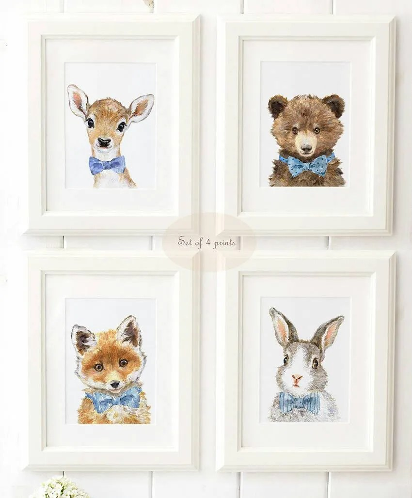 Woodland Nursery Art Woodland animals print set of 4