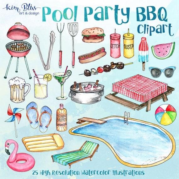 Bbq Pool Party Clip Art