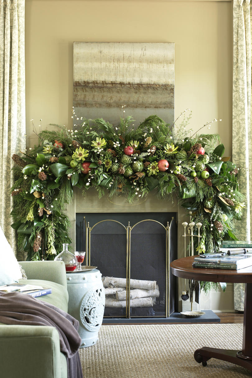 Christmas Mantel Decorating Ideas   Southern Living Natural Mantel