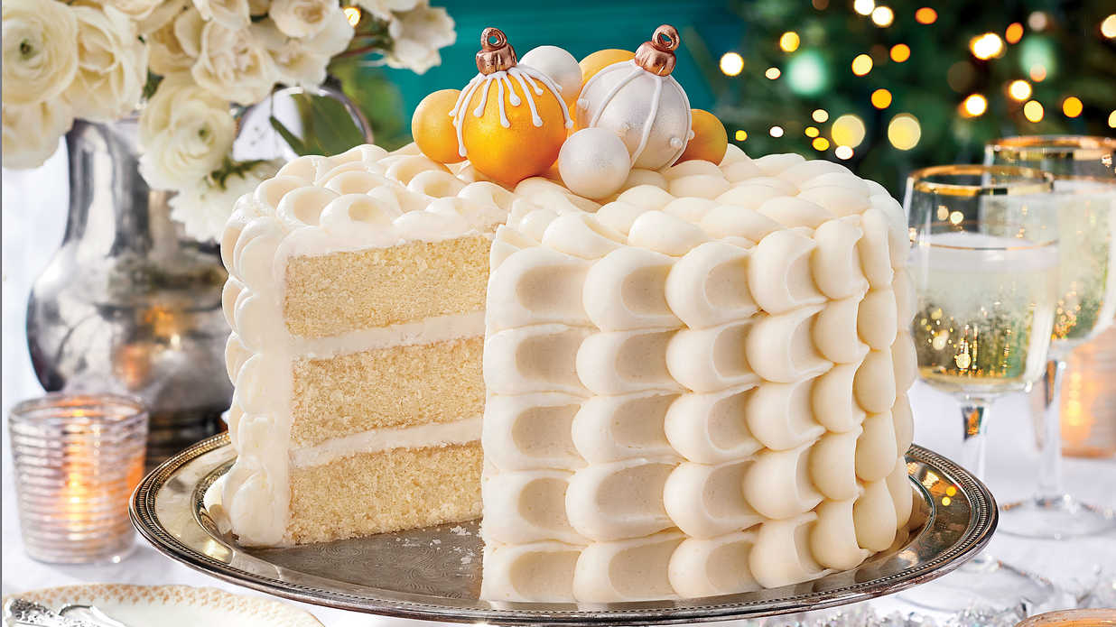 Snowy Vanilla Cake With Cream Cheese Buttercream Recipe