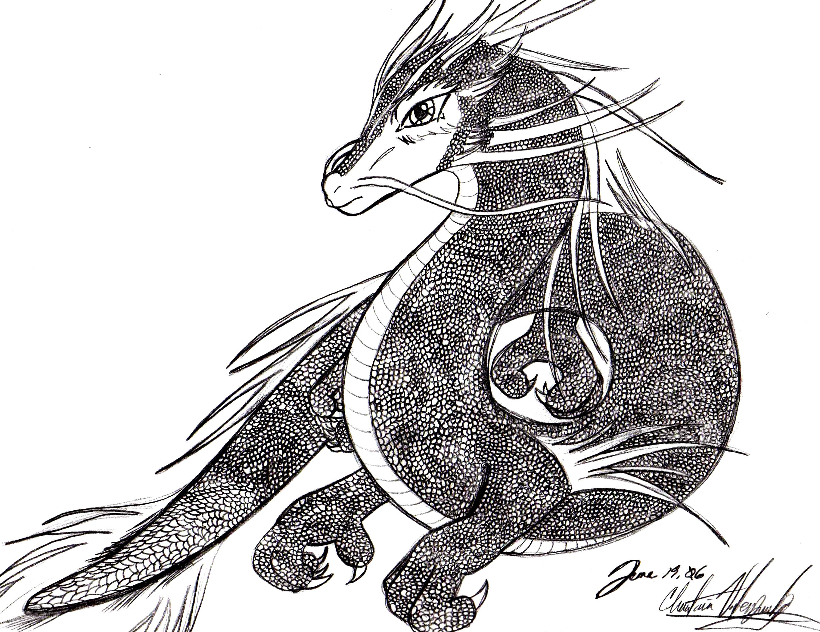 Eastern Dragon Black and White by BlazenWolfDemon on ...