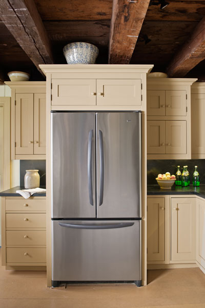 Expertly Placed Fridge Farmhouse Kitchen Revival This