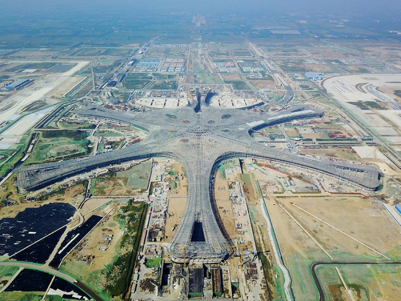 Beijing s second airport starts taking shape   Chinadaily com cn The new Beijing airport  pictured here in September  will open in 2019  JU  HUANZONG XINHUA