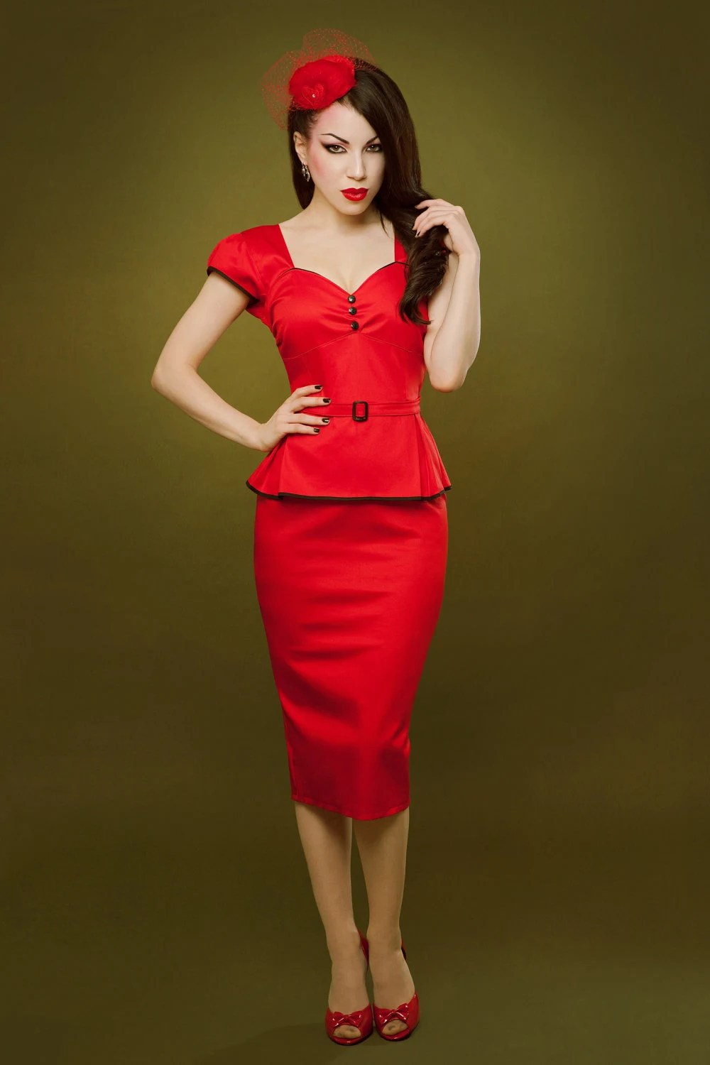 Pin up rockabilly red peplum dress by Hola Chica Clothing ...