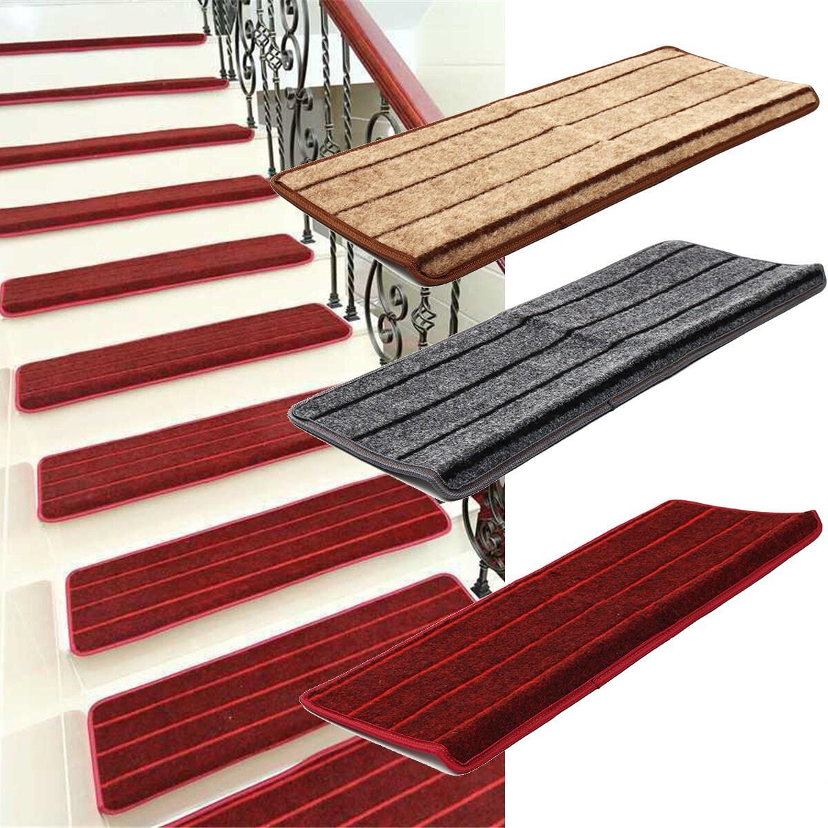 Non Slip Tread Carpet Mats Step Staircase Non Slip Mat Protection | Average Price To Carpet Stairs | Stair Case | Hardwood Stairs | Flooring | Hardwood Flooring | Measure