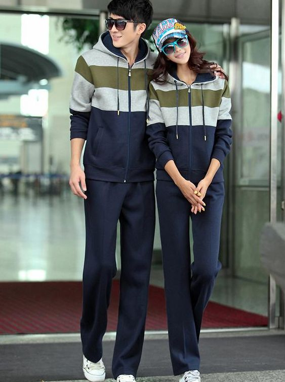New Fashion Color Block Hoodie Long Pants Couple Tracksuit