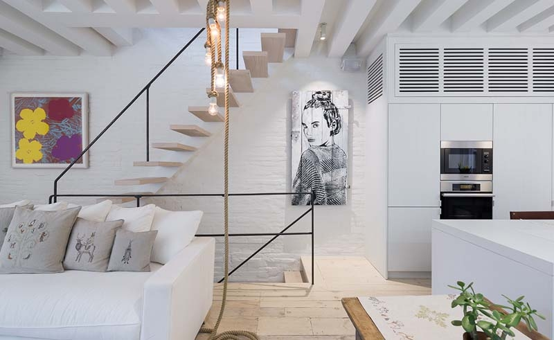 Mad Designed West Village Duplex Gets A Modern Update With A   Duplex House Staircase Wall Design   Tv Cabinet   Stair Wall Paint   Living Room Staircase   Decoration   Exterior Staircase
