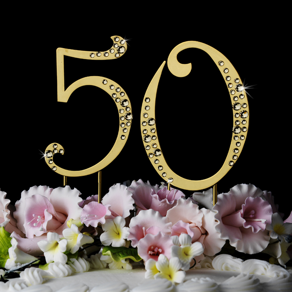 Gold 50th Anniversary Cake Toppers