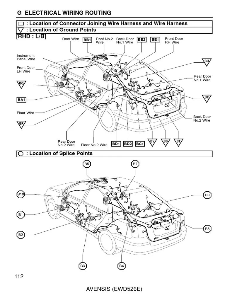 Toyota avensis 2003 2007 electrical wiring routing