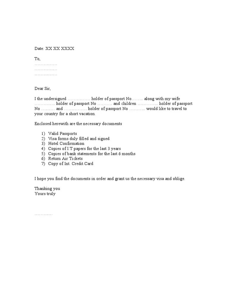 Covering Letter For Visa Application For Egypt