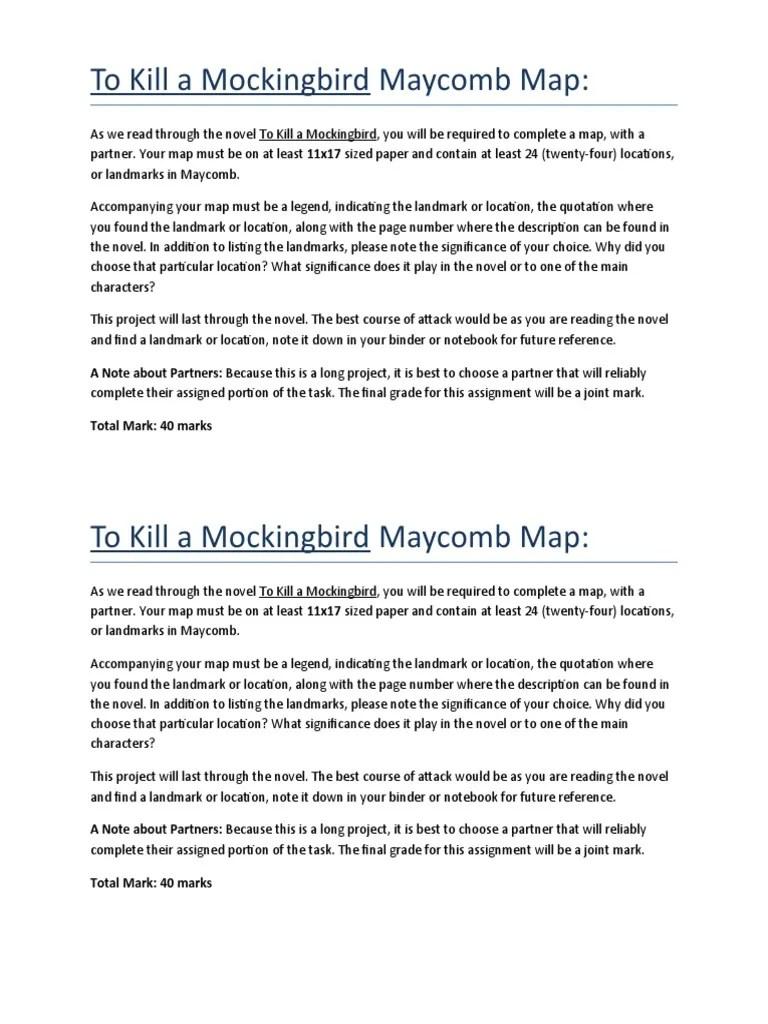 Map Description Maycomb Kill Mockingbird
