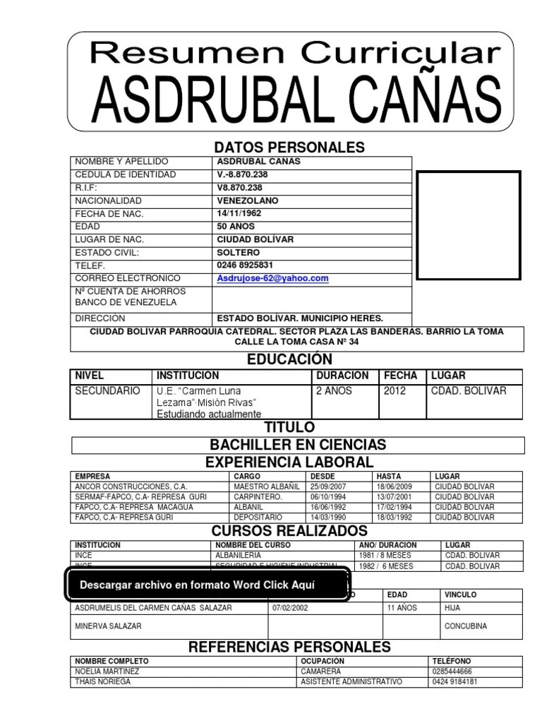 Word Formato De Curriculum