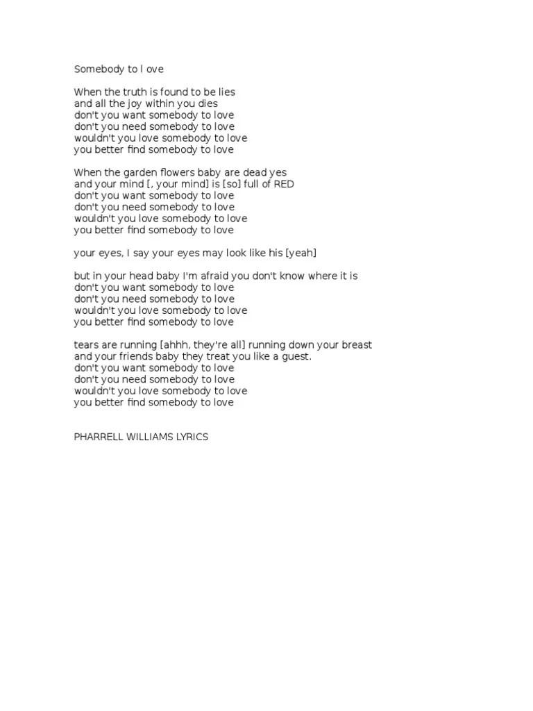 Don t you need somebody to love lyrics