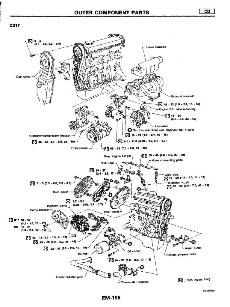 Manual de motor nissan cd17 cd20 belt mechanical cylinder