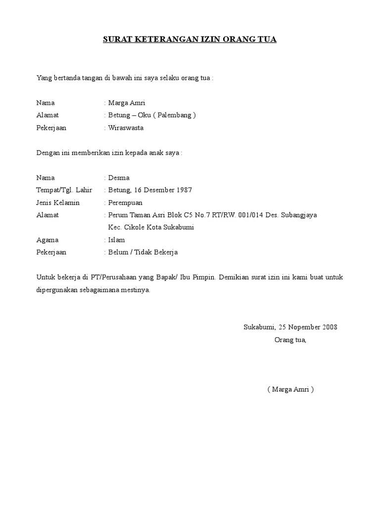 Contoh Surat Izin Orang Tua Untuk Bekerja Di Alfamart