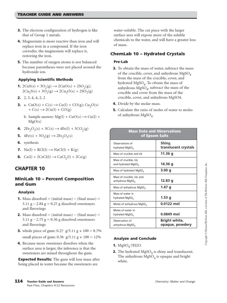 Teaching Transparency Master Worksheet Answers ...