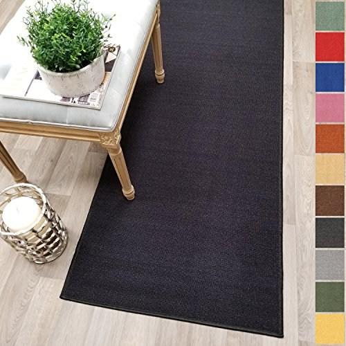 Custom Size Black Solid Plain Rubber Backed Non Slip Hallway Stair   Non Slip Stair Runners   Mat   Beige   Wooden Steps   Treads Carpet   Bullnose Carpet