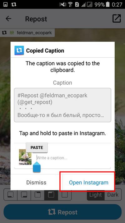 """Выбор кнопки """"Open instagram"""""""