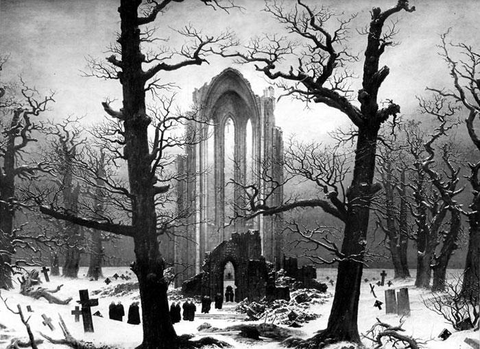 Monastery Graveyard Snow