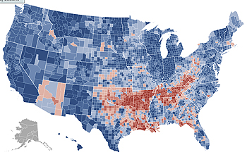 The political puzzle of    unhyphenated Americans      Information Knoll Now consider the following map of results from the 2008 presidential  election to the 2004 presidential election  data from The New York Times