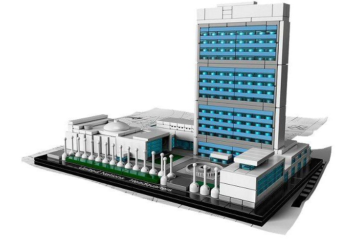 LEGO unveils Towering New Model of the United Nations Headquarters     An architectural replica of the iconic United Nations Headquarters building  in New York City is the latest addition to the LEGO Architecture kit