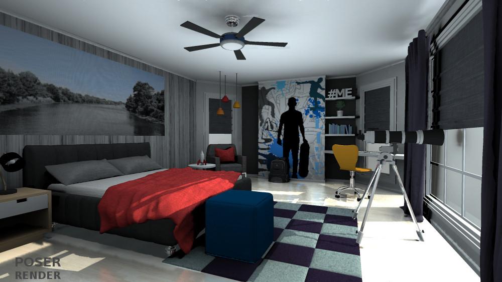 3d Teen Boys Bedroom Inlite Studio 3d Store