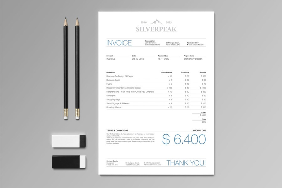 Don t Hold Back on Your Invoice  25 Inspiring Designs   Inspirationfeed Silverpeak Invoice by Andre28