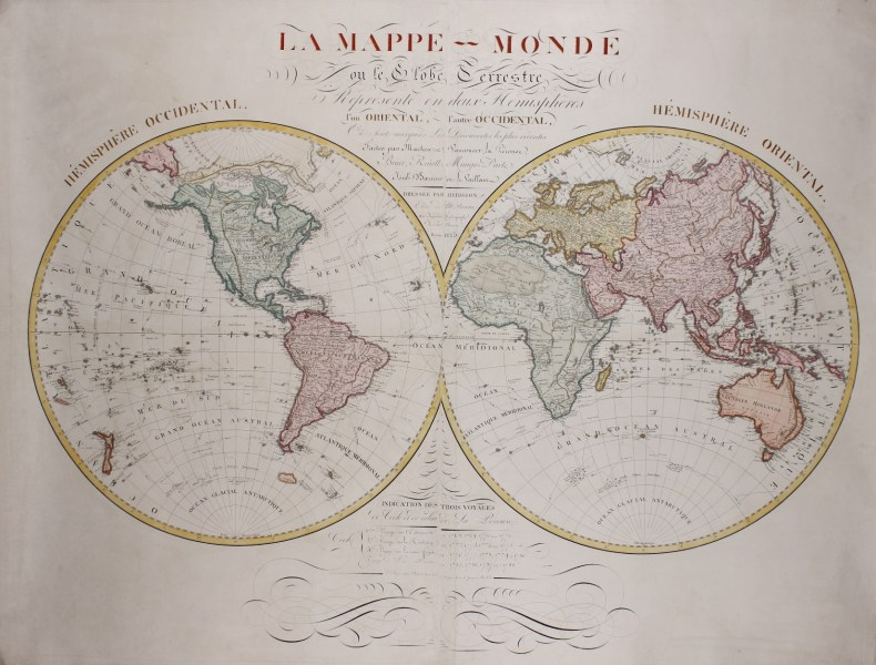 rare antique old wall map of the world rare antique old wall map of     Wall map of the world   Eustache H    rison