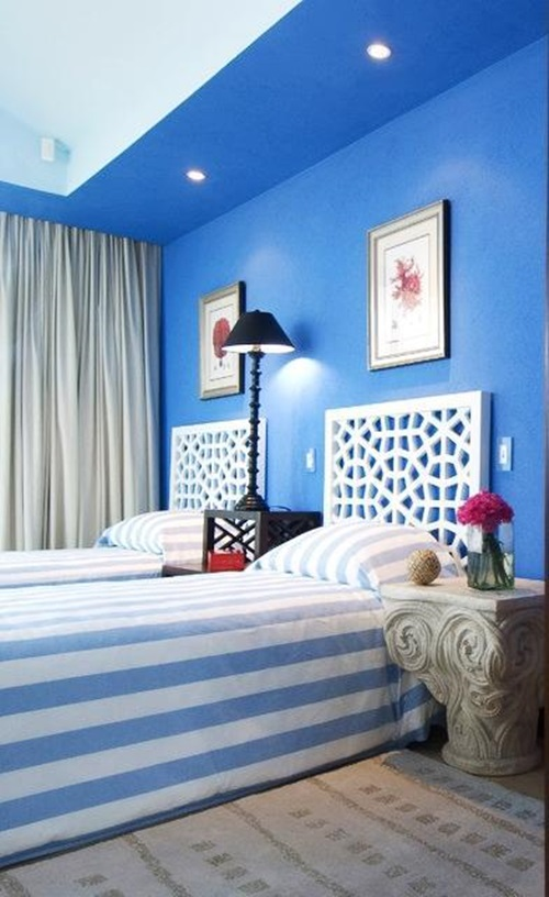 Brown Blue Light Decorating Bedroom And