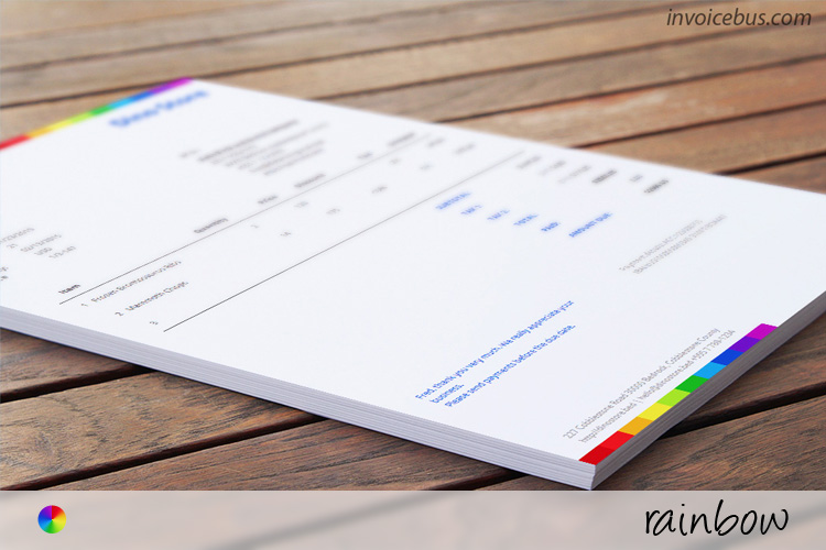 Commercial Invoice Template   Rainbow Beautiful  yet free invoice template which sends message of a company that  cares about the