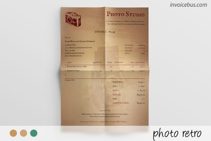 Vintage Photography Invoice Template   Photo Retro