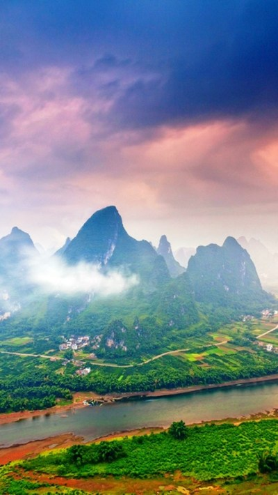 Green-Nature-Village-Guilin-China-Mountains-iPhone ...