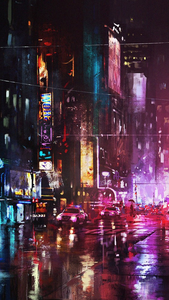 Oil Painting New York City In Night Iphone Wallpaper