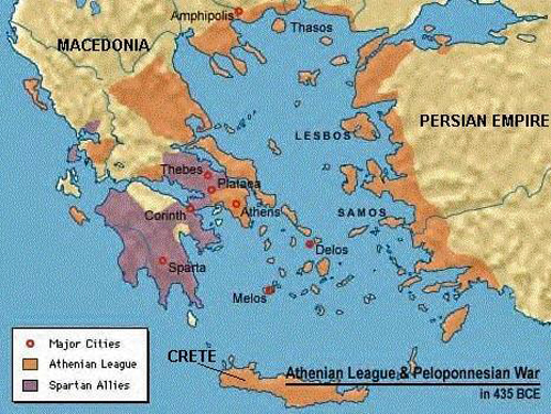 Athenian And War Spartan Map