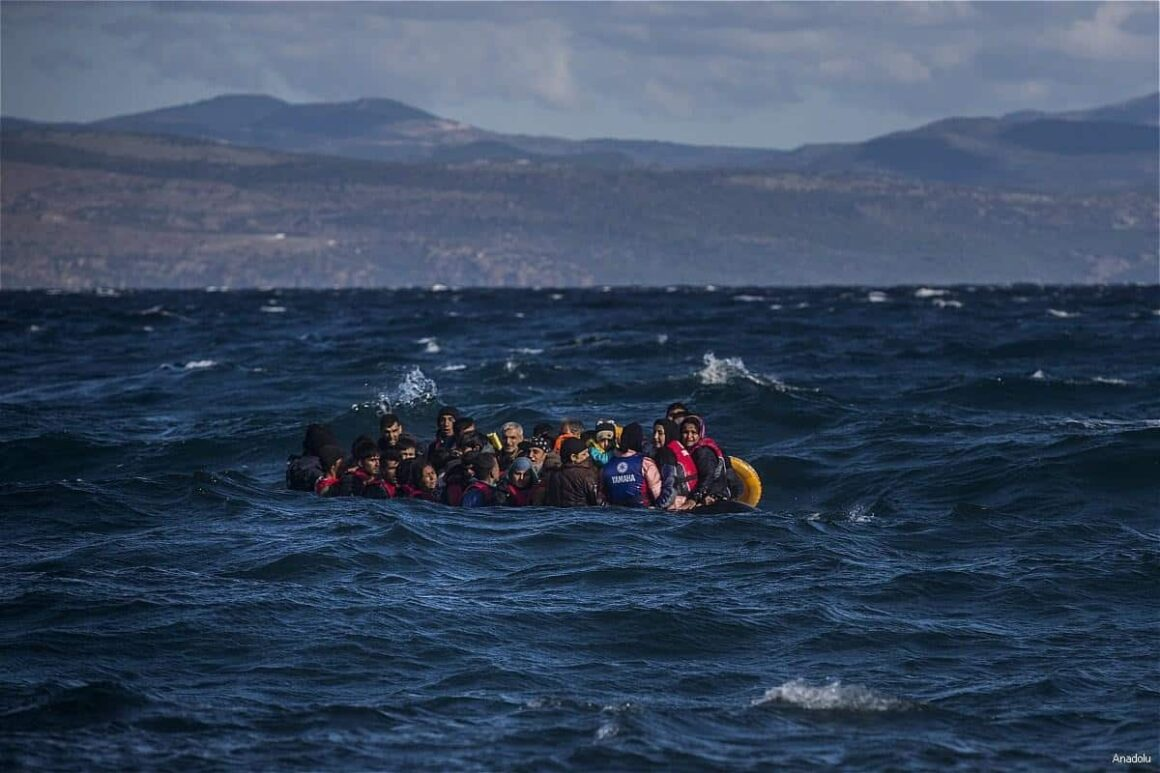 Refugees on a Boat to Greece