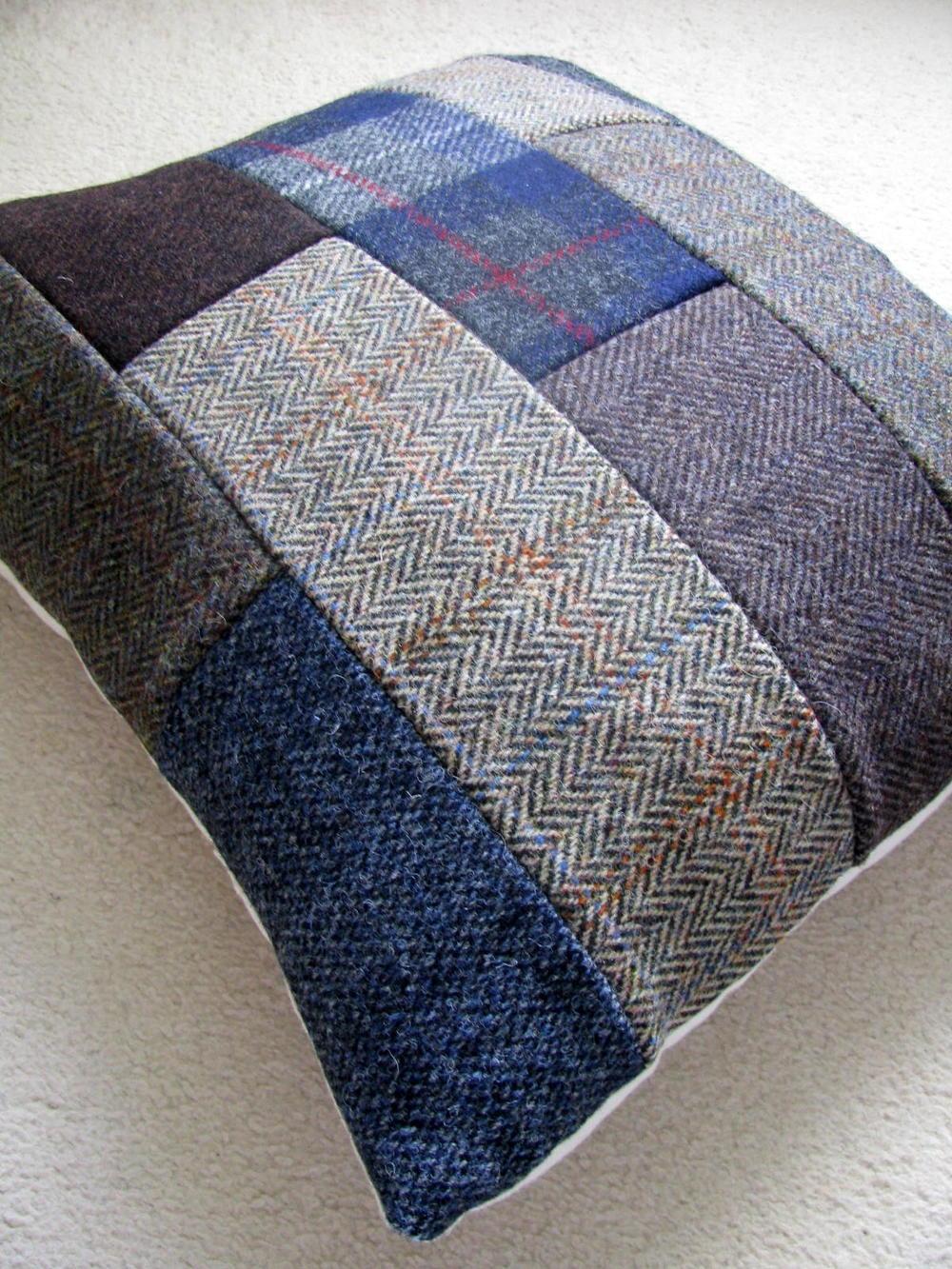 Patchwork Tweed Diy Throw Pillows Diyideacenter Com