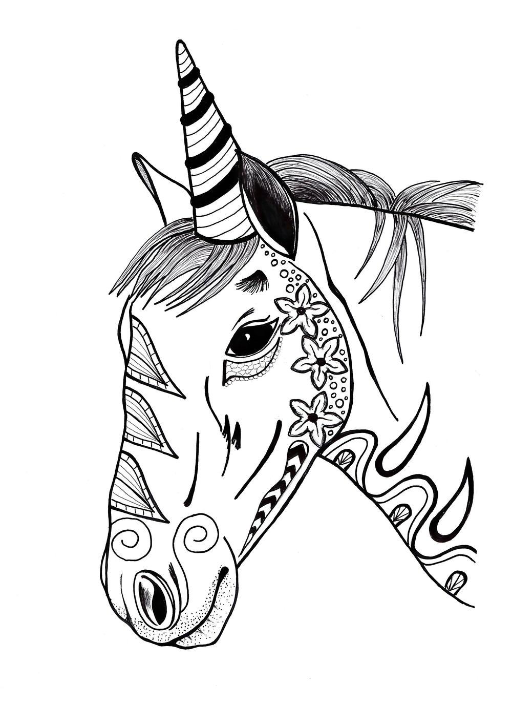 Toned Zentangle Two Unicorn