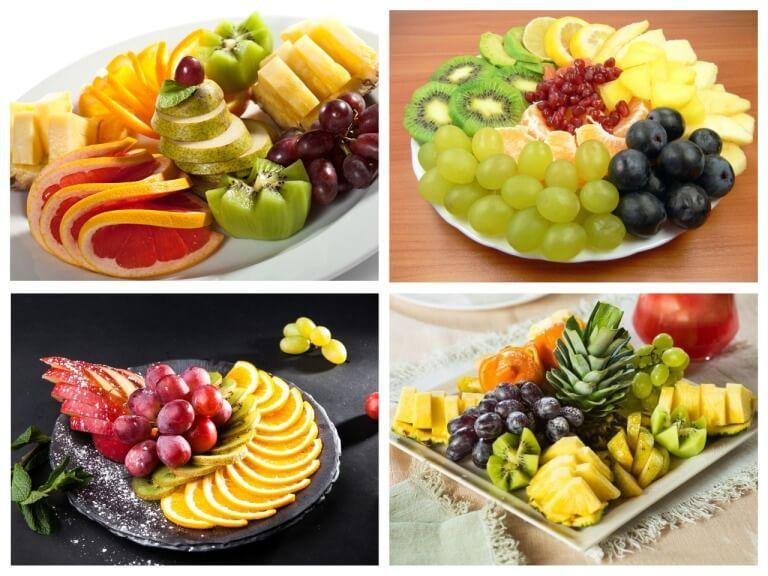 Belle décoration de plaques de fruits sur une table festive à la maison