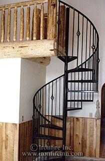 Spiral Staircase Ironwork Wrought Iron Gates Railing Fence | Wrought Iron Spiral Staircase | Wood | Gothic | Small | Mezzanine | Internal