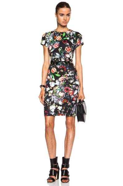McQ Alexander McQueen Long Bodycon Cotton Blend Dress in Festival     Image 1 of McQ Alexander McQueen Long Bodycon Cotton Blend Dress in  Festival Floral