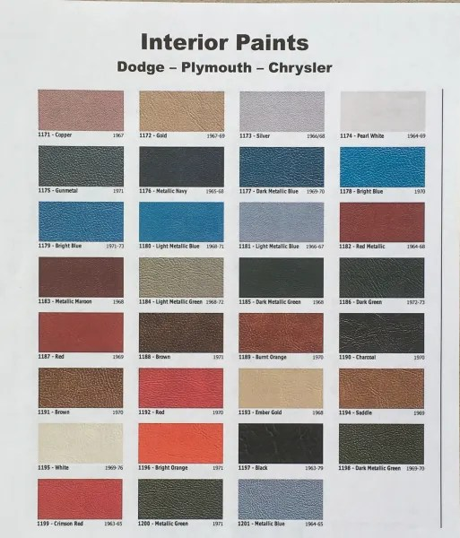 Interior Colors Mopar Chrysler Dodge Plymouth Spray Paint