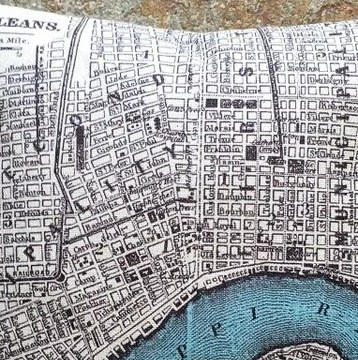 HD Decor Images » New Orleans map pillow  New Orleans map  Old New Orleans map     New Orleans Vintage Map Pillow