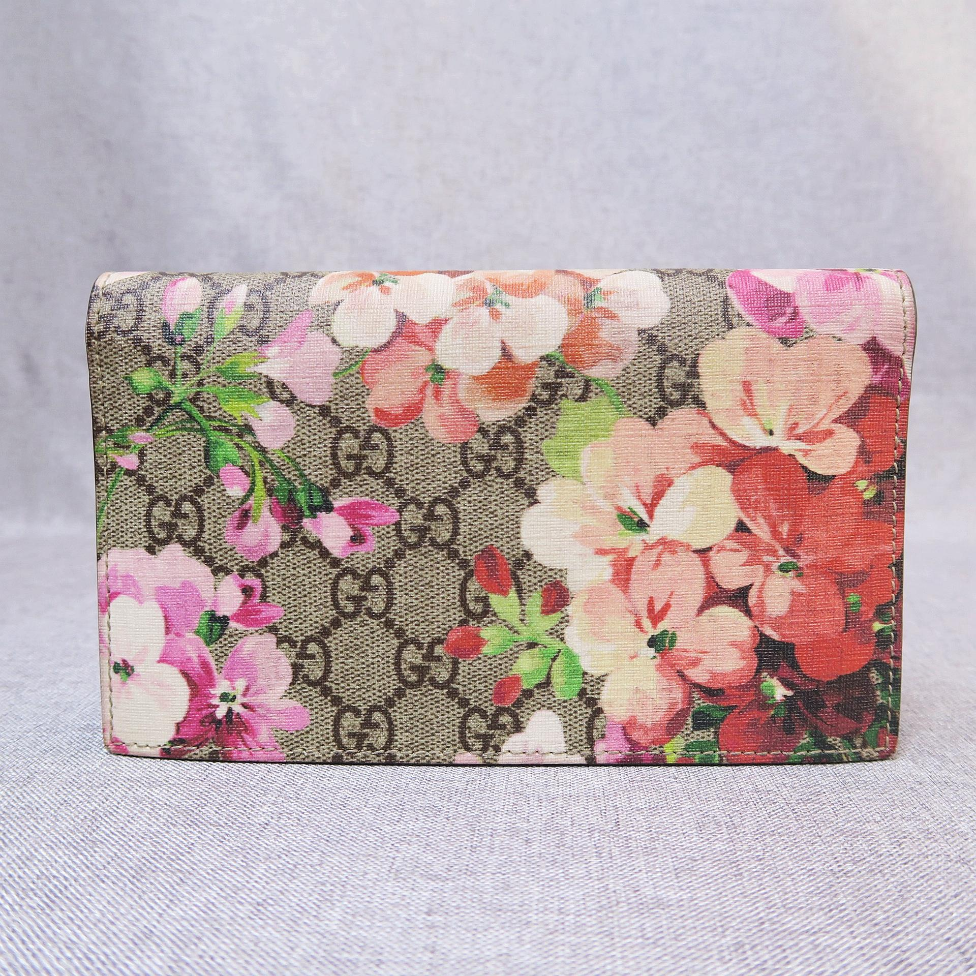 1d15efac92f Gucci Gg Blooms Supreme Chain Wallet Gray Canvas Cross Body Bag