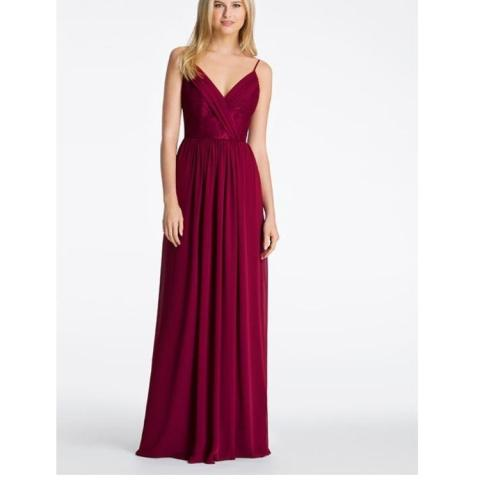 Bridesmaid   Mother of the Bride Dresses   Up to 90  off at Tradesy Hayley Paige Burgundy Chiffon 5618 Feminine Bridesmaid Mob Dress Size 12  L