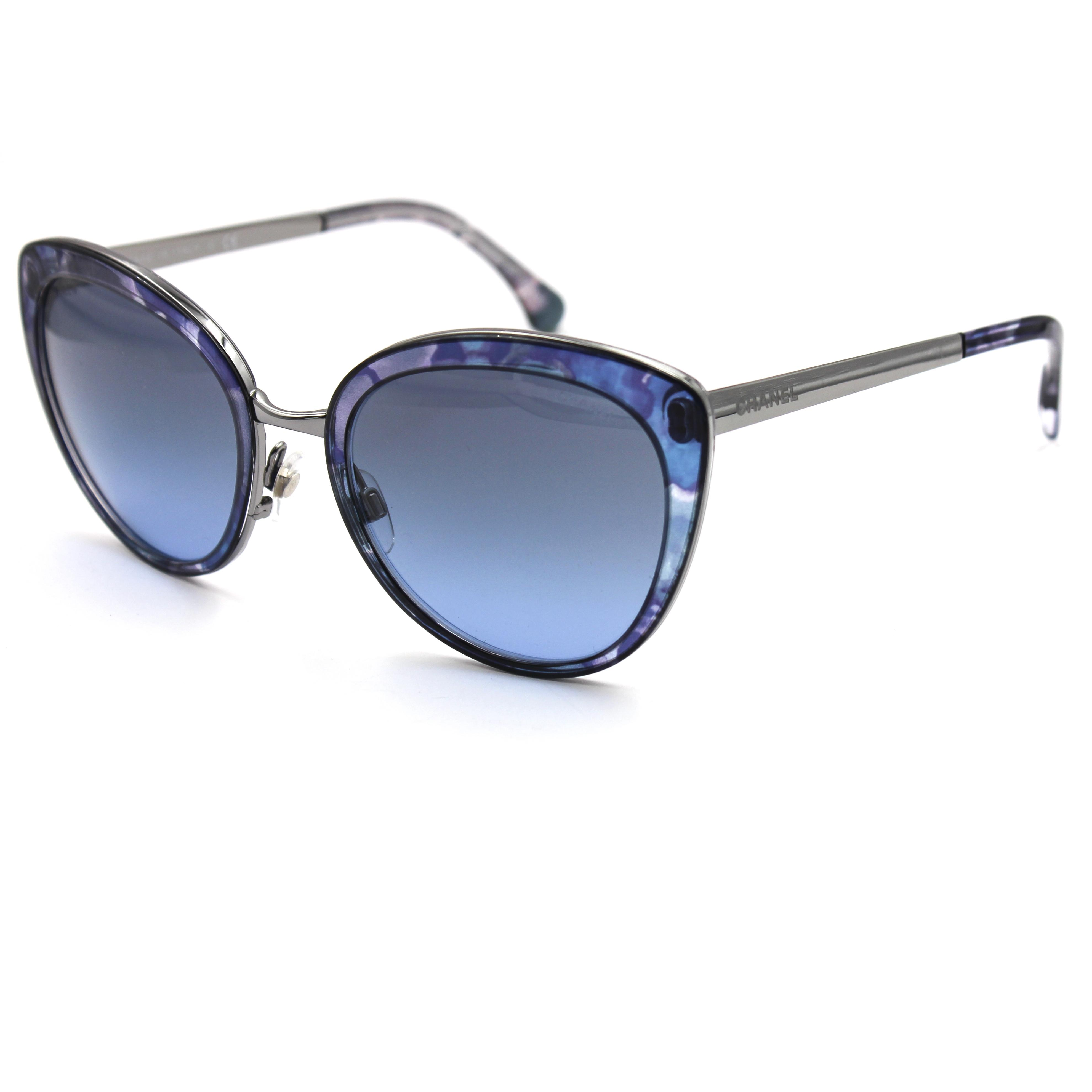 e1c912917bb Chanel Blue 4208 Flower Frame With Gradient Lenses Sunglasses Tradesy