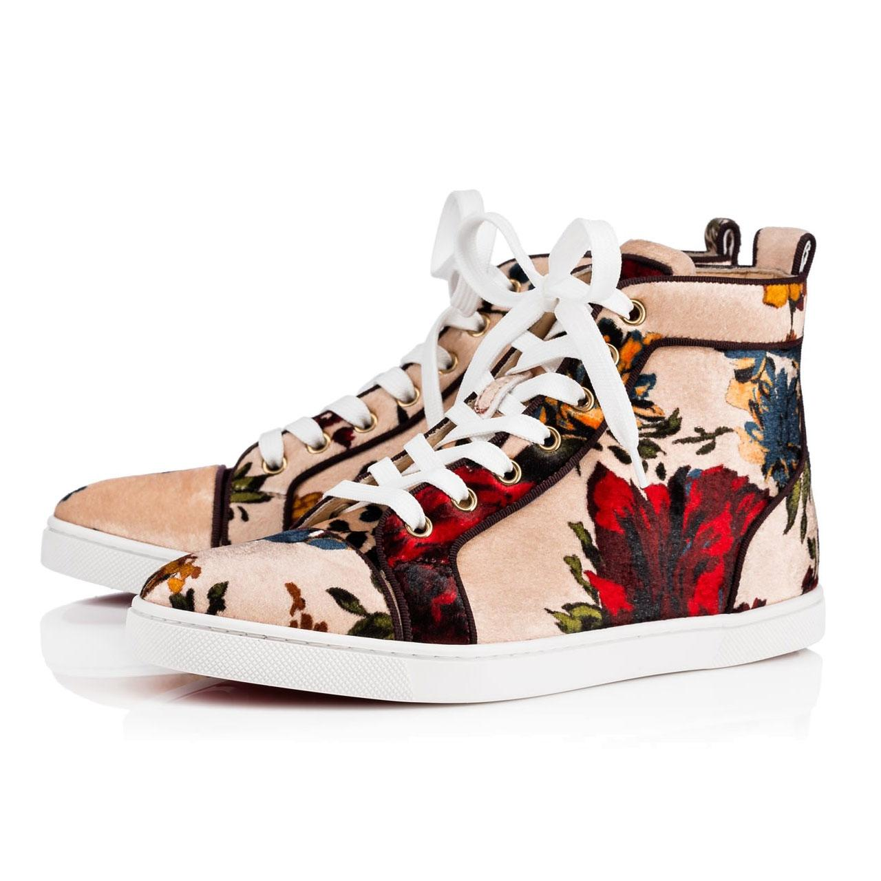 8e7e6748c Gucci Beige And Green Blooms Print Gg Canvas Low Top Sneakers. Christian  Louboutin Nude Bip Bip Orlato Floral Flat High Top Sneakers Sneakers Size  Eu 39 (