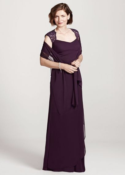 David s Bridal Black Cap Sleeve Long Jersey Dress With Lace Detail     David s Bridal Black Cap Sleeve Long Jersey Dress With Lace Detail Dress