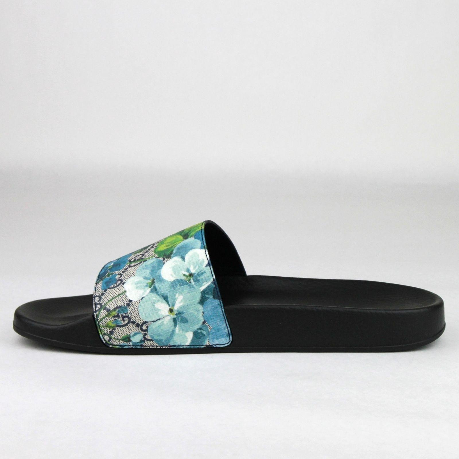b825bac7cf5 Gucci Blue Men s Bloom Print Flower Slide Sandals 7G   Us 8 407345